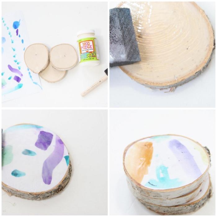 tassenuntersetzer aus hozschleiben, modge podge, was kann man mit kindern basteln, diy bastelideen