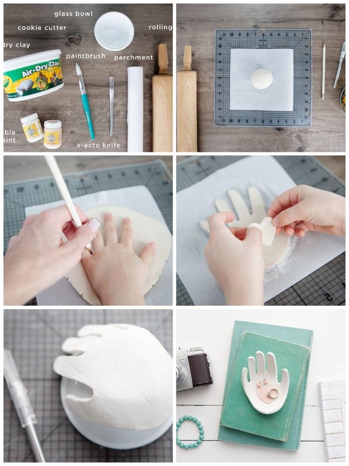was kann man mit kindern basteln, schmuckschale selber machen, weißer ton, hand