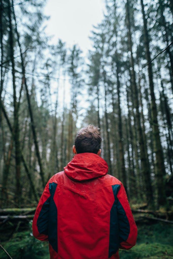 Der perfekte Begleiter beim Laufen, rote wasserabweisende Übergangsjacke, Schutz gegen Regen