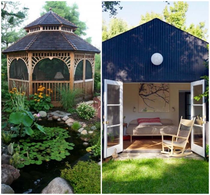 Flachdachhaus oder Spitzdach, was würden Sie lieber nehmen, See im eigenen Garten, Teich mit Bepflanzung, wasserpflanzen