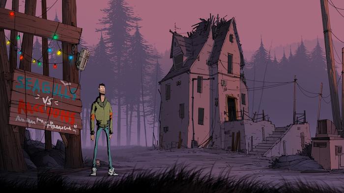 Unforeseen Incidents Backwoods Entertainment Spiel. ein wald mit vielen vieoletten bäumen und ein junger mann mit blauen hosen und ein altes haus mit violetten wänden