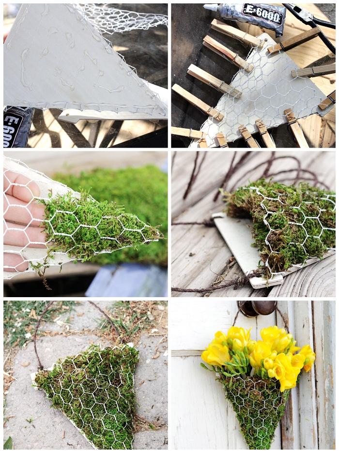 türkranz basteln aus netz, moos und blumen, bastelideen mit anleitung, gelbe tulpen, diy anelitung