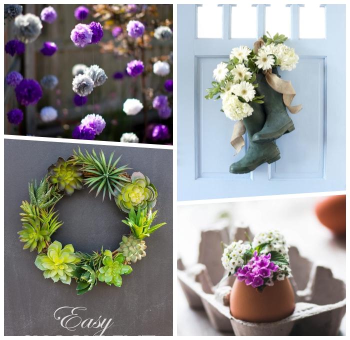 bastelideen mit anleitung, girlanden aus lila blüten, kranz aus sukkulenten, kleine vase aus eierschale