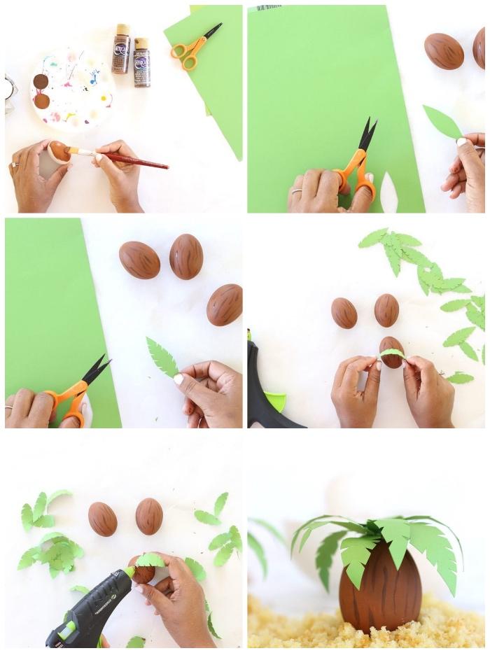 basteln für ostern, palmen aus eiern selber machen, palmenblätter aus grünem papier ausscheiden