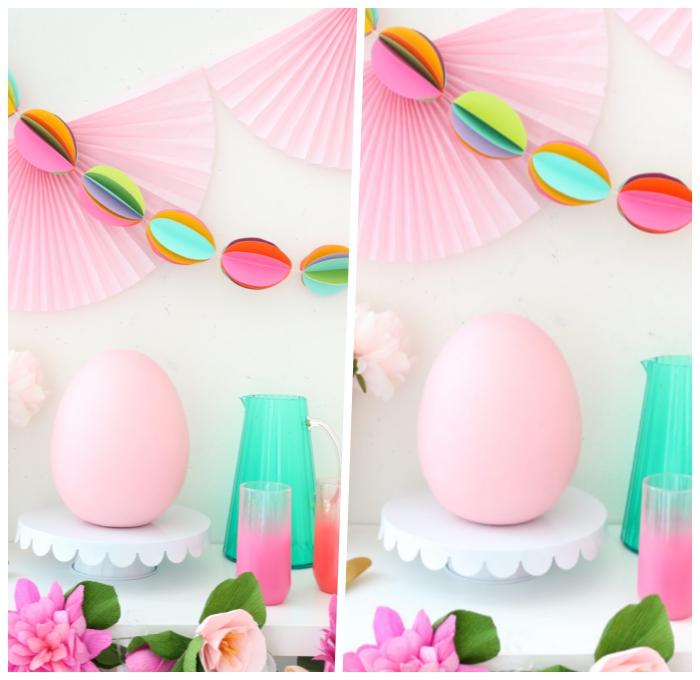 basteln für ostern, große rosa ei, wanddeko ideen, selsbtgemachte partydeko, osterdeko