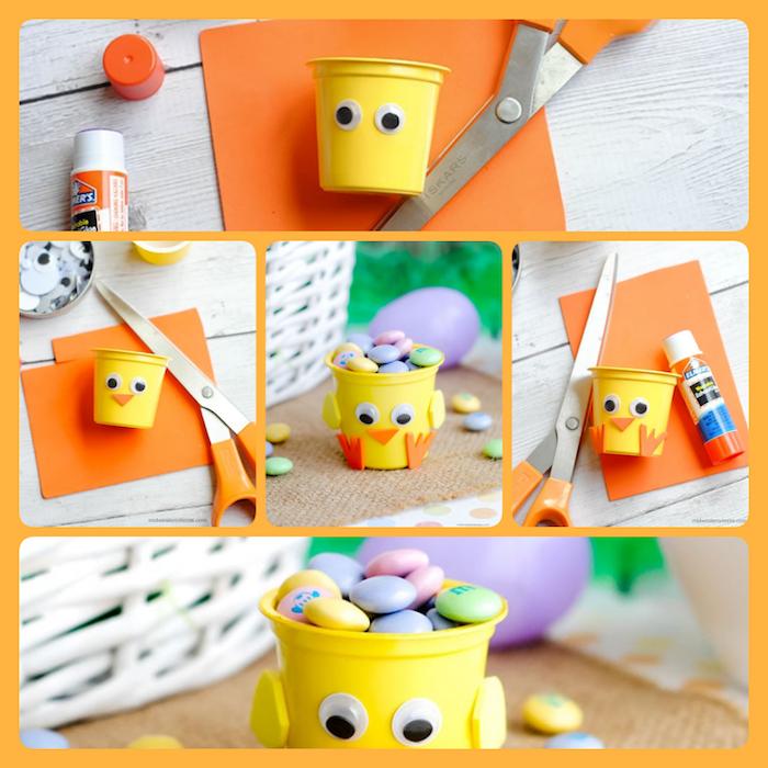 Küken selber machen aus einem kleinen gelben Eimer, mit bunten Bonbons füllen