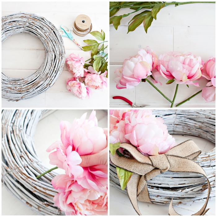 basteln mit holz, kranz selber machen, zweige dekoriert mit weißer farbe, große rosa blumen