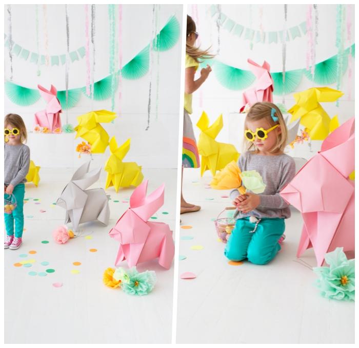 basteln mit kindern frühling, große origami osterhasen, hasen aus papier, kleid mädchen