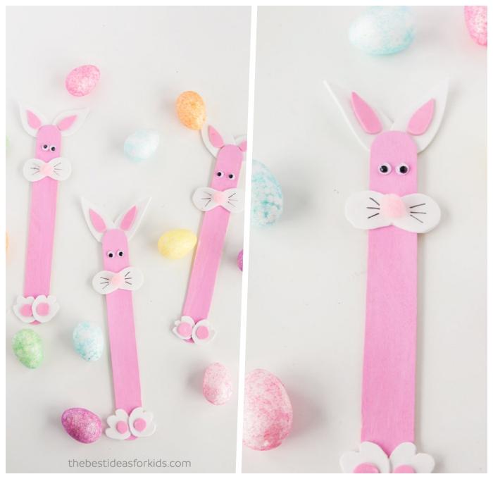 basteln mit kindern frühling, hasen aus holzstäbchen dekoriert mit rosa acrylfarbe