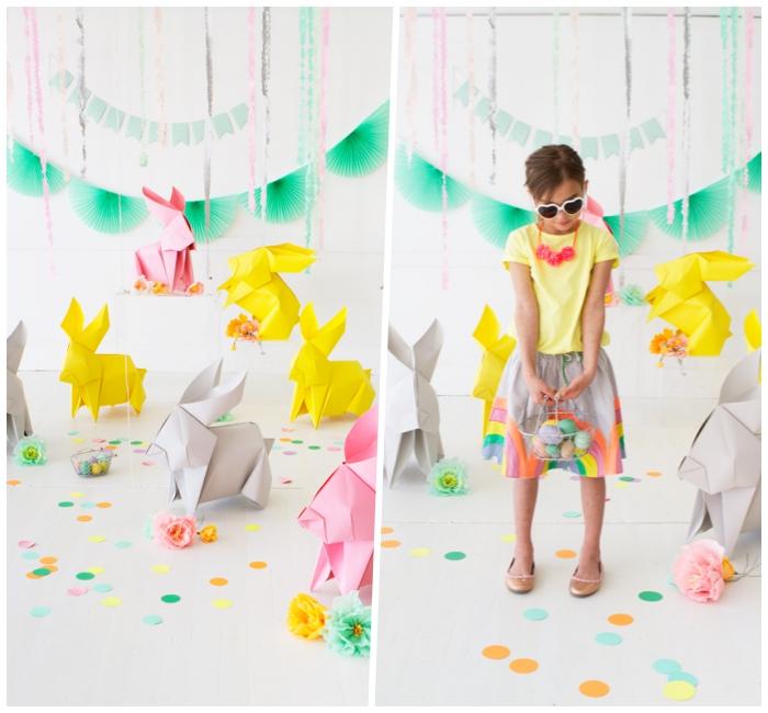 basteln mit kindern frühling, origami hasen selber machen, große osterhasen aus buntem papier