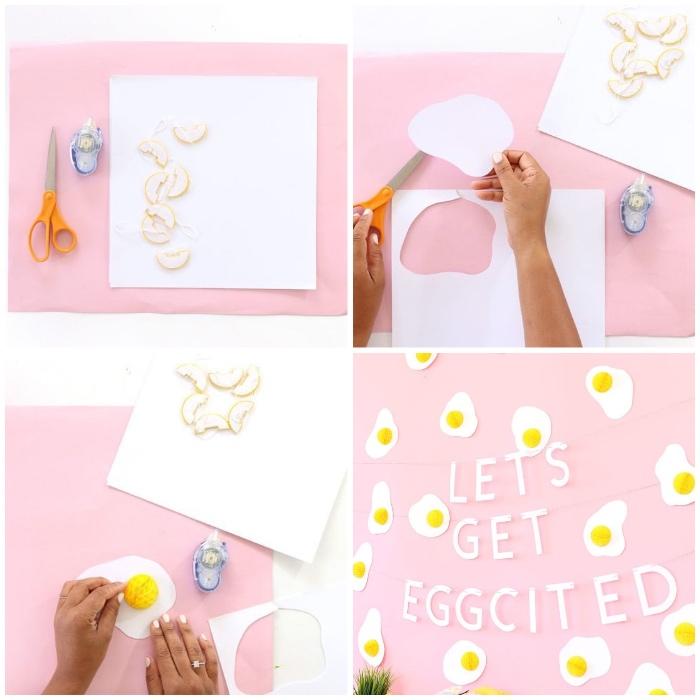 basteln mit kindern frühling, ostereier selber machen, eier aus papier und wabenbällchen