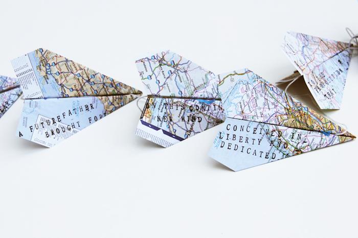 Girlande mit Papierfliegern selber machen, Deko für Vatertag mit Kindern basteln