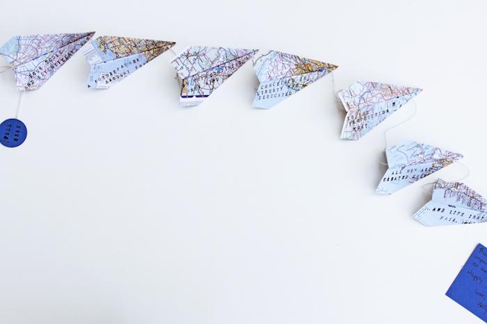 Girlande aus Papierfliegern selber machen, Basteln mit Kleinkindern zum Vatertag