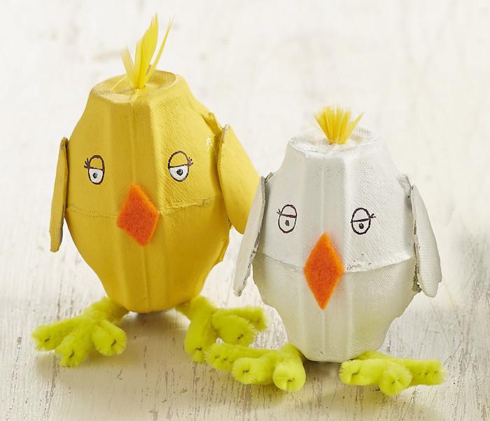 Küken aus Eierkarton selber machen, Bastelideen zu Ostern für Kinder zum Nachmachen