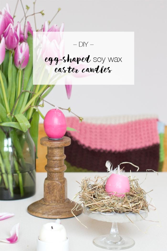 basteln zu ostern, kerzen in der form von eiern, rosa wachs, tischdeko ideen, osternest