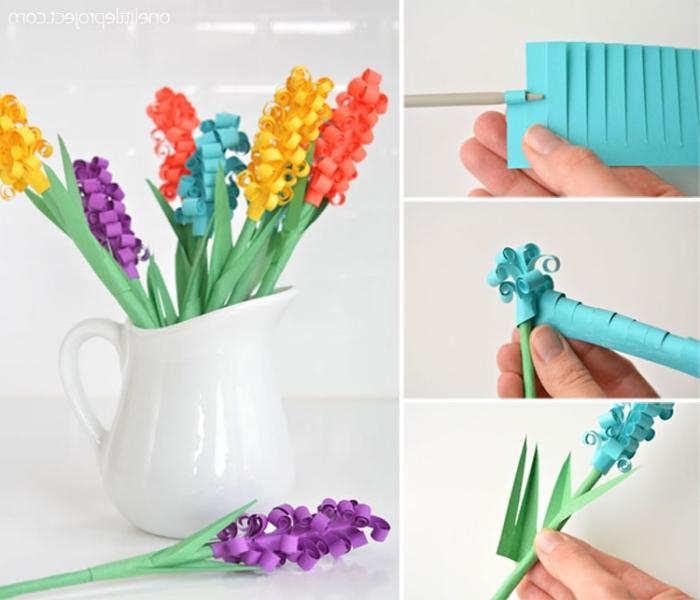 basteln zu ostern, weiße vase, blumen aus papier selber machen anelitung, papierblumen