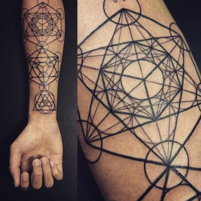blume des lebens, ideen für kreative tätowierungen, unterarm tattoo, foto von einem arm aus zwei perspektiven