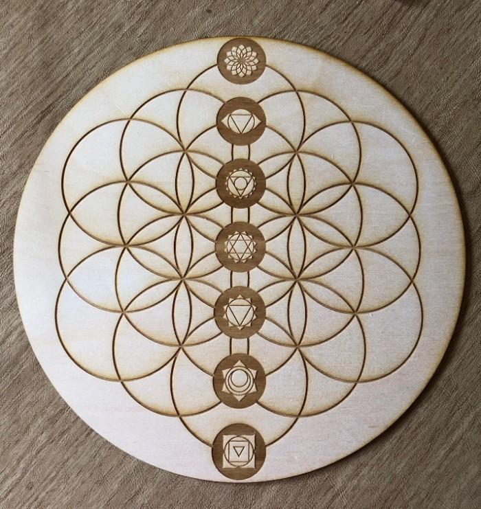blume des lebens, schönes design, eine runde form mit alle sieben elementen und chakras von yoga