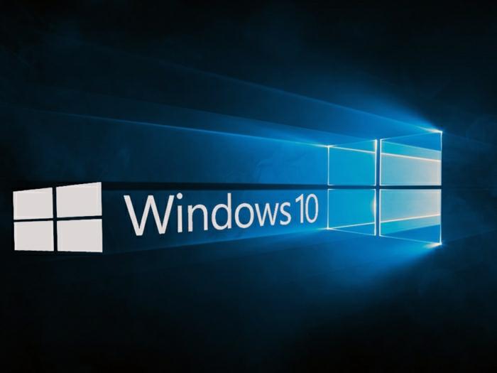 Windows 10, das Logo, zwei Fenster, weiße Buchstaben, dunkelblauer Hintergrund