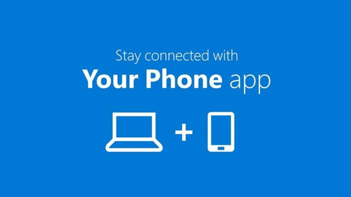ein Logo von Your Phone App, die Bildschirm spiegeln erlaubt, ein Computer und ein Handy