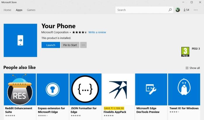 Microsoft Store, Your Phone App und andere ähnliche Apps, Bildschirm spiegeln
