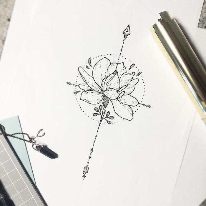 blume des lebens tattoo ideen, design von einer schönen blume, schwarz auf weiß malen