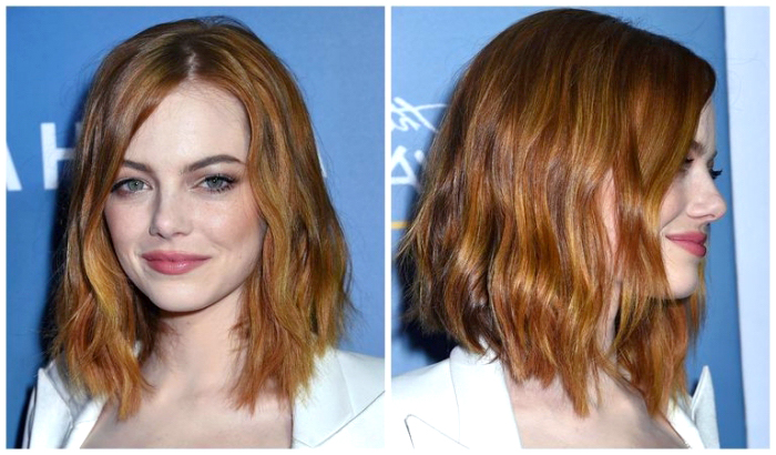 rote haare, bob frisuren mittellang, emma stone, blaue augen schminken, schminktipps