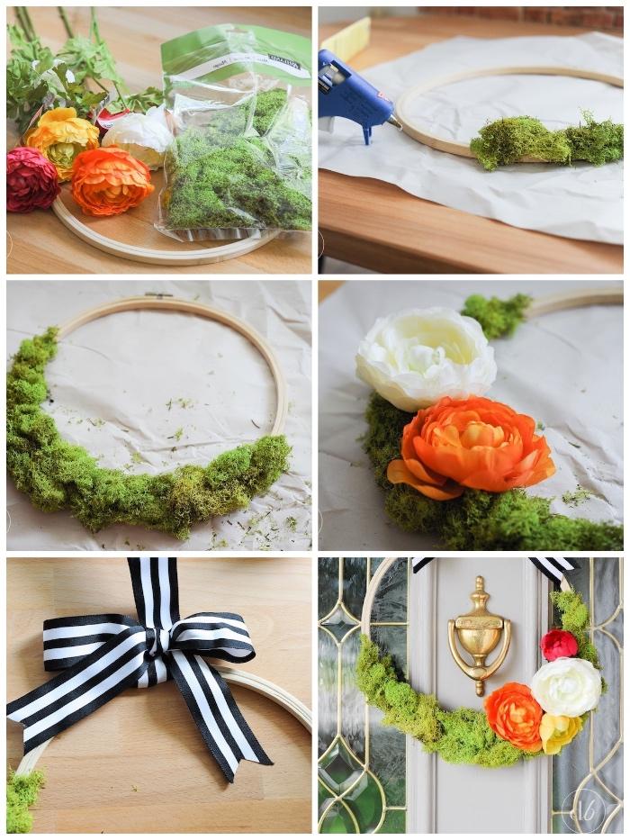 deko ideen selbermachen, türdeko basteln, kranz aus holzring, moos und orangenfarbenen blumen