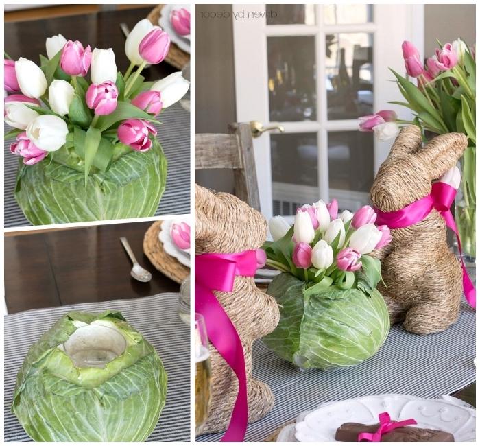 deko ideen selbst machen, vase aus kraut, hasen mit rosa shcleifen, selbstgeamchte osterdeko, weiße und rosa tulpen