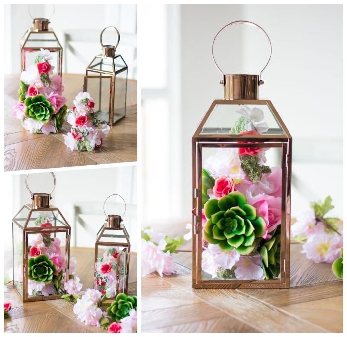 deko ideen selbst machen, große laternen aus glas und metall gefüllt mit sukkulenten und frühlingsblumen