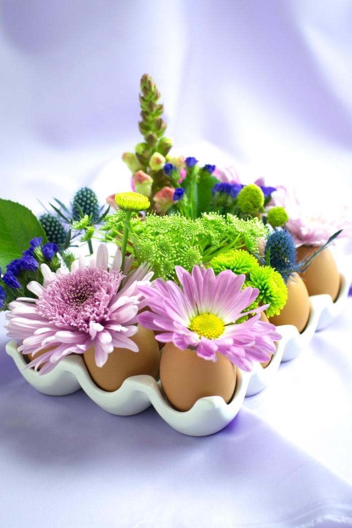 deko ideen selbst machen, tischdeko basteln, osterdeko aus eiern, diy vasen, tisch dekorieren