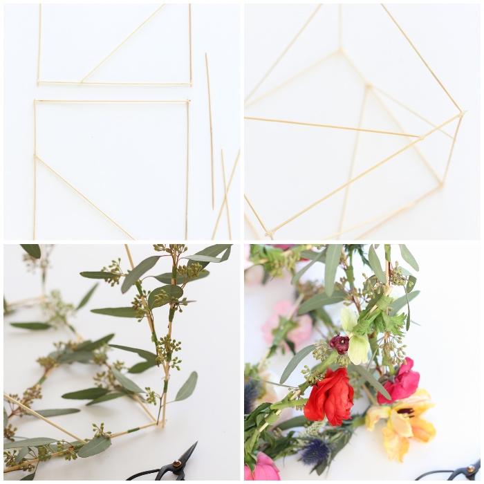 deko selber machen, diy anleitung, goldenes draht, florale gartendeko basteln, blumen