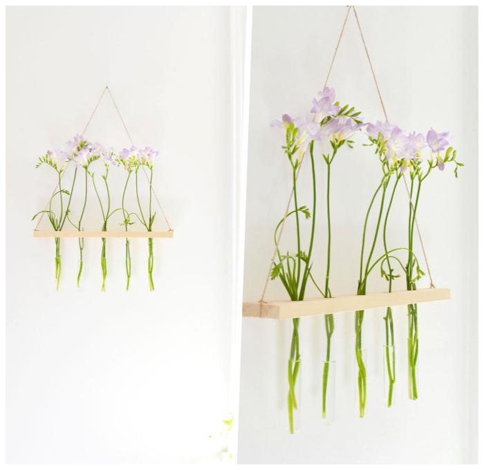 deko selber machen, hängende dekoration für wand aus holz und kolben, wanddeko ideen