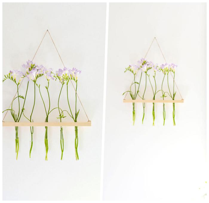 deko selber machen, wanddeko aus holz und blumen, hängende dekoration, frühlingsblumen