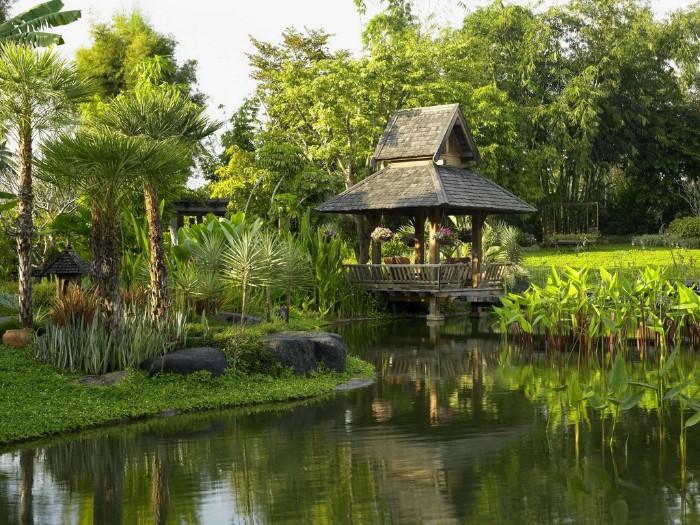 exotisches gartenhaus am see, tropisches klima, grüne pflanzen, häuschen zum entspannen
