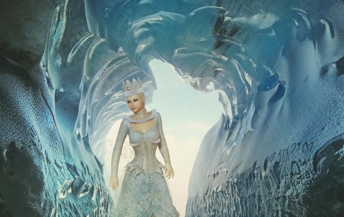 eine gefrorene Höhle, die Eiskönigin mit Krone aus Eis und ein weißes Kleid, schöne Profilbilder