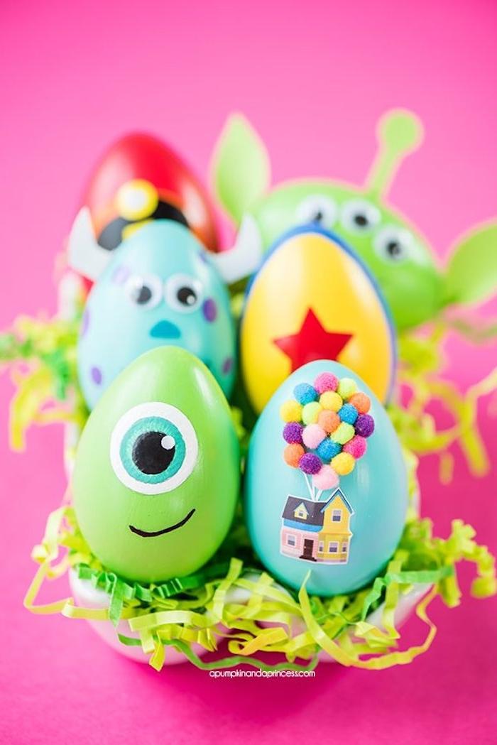 Disney Ostereier selber machen , tolle Idee für Kinder zu Ostern, Ostereier kreativ färben
