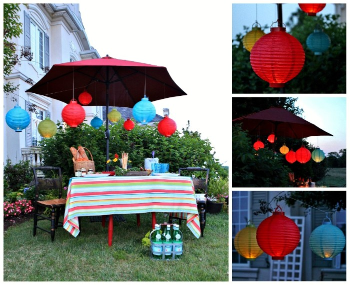 gartenhäuser oder gartenparty deko ideen, tisch sonnenschirm, leuchten, chinesische lichter, nette atmosphäre