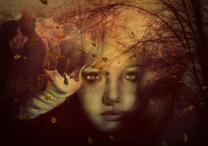 ein Mädchen mit Tränen in den Augen, coole Bilder, ein Wald im Herbst und viel Laub