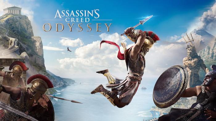 poster des spiels assassins creed odyssey, meer und blauer himmel mit weißen wolken und fliegenden vögeln, ein mann mit schwart