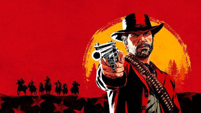 deutscher computerspielpreis, poster des spiels red dead redemption, ein cowboy mit einer grauen pistole, ein roter himmel und eine gelbe sonne und kleine schwarze pferde