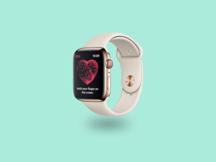 apple smartwatch mit ekg funktion, eine weiße armbanduhr mit einem schwarzen bildschirm mit einem großen roten herzen