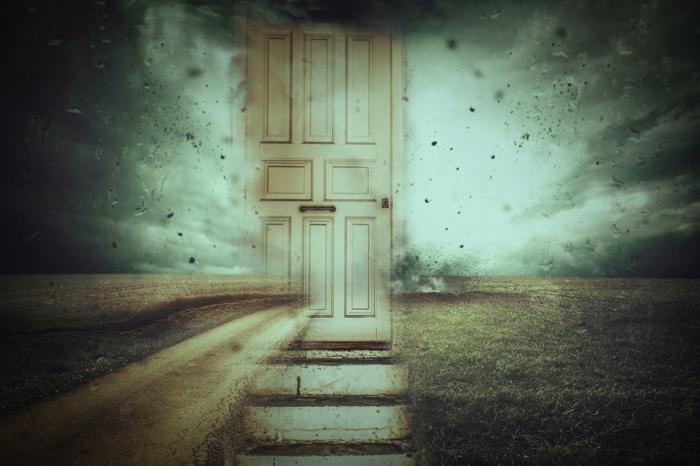 tolle Bilder, eine Tür auf einer Wiese, als ob zwei Dimentionen miteinander verbunden sind
