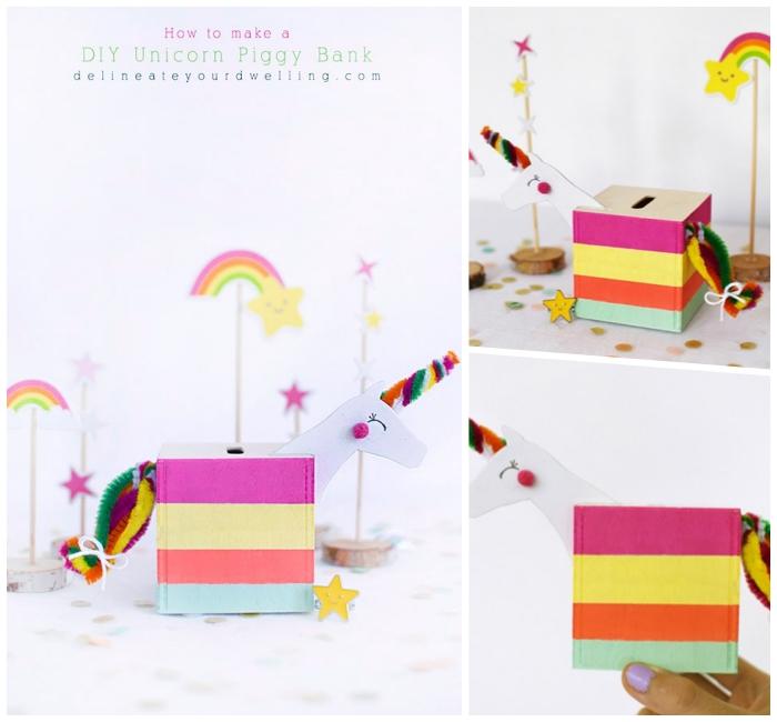 einhorn spardose basteln mit kindern, box aus holz derkoiert in bunten farben, diy