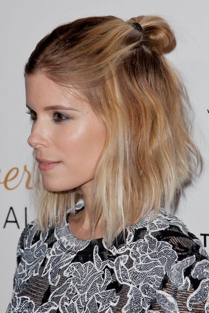 Kate Maare Haarschnitt halblang, Frisuren für feines Haar, halboffene Haare mit Messy Dutt