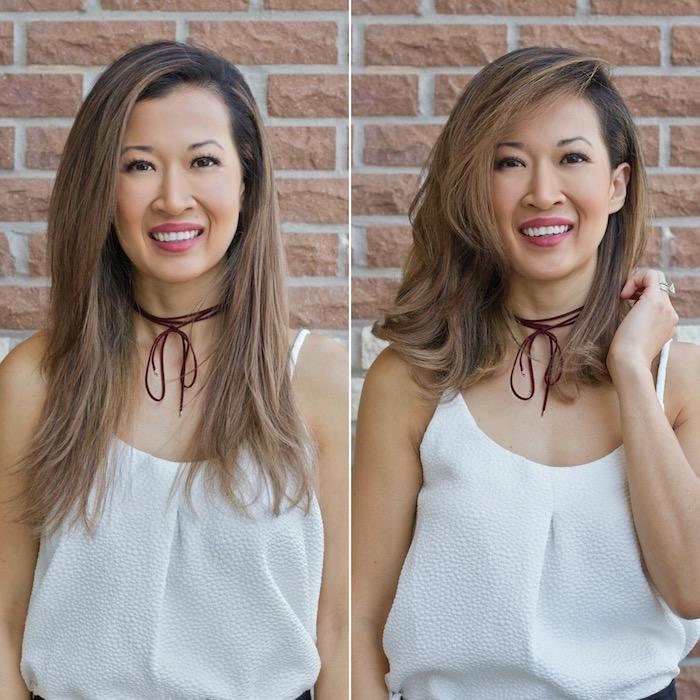 Haarschnitte vorher und nachher, Frisur halblang für mehr Volumen, Haarfarbe Balayage