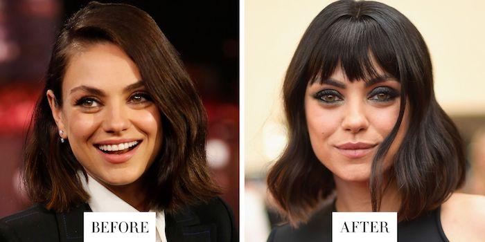Frisuren vorher und nachher, ohne und mit Pony, Frisur halblang, Mila Kunis, schwarze wellige Haare