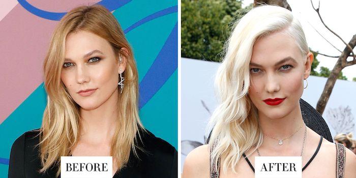Haarschnitte für feines Haar vorher und nachher, Haare seitlich tragen für mehr Volumen, goldblond und aschblond