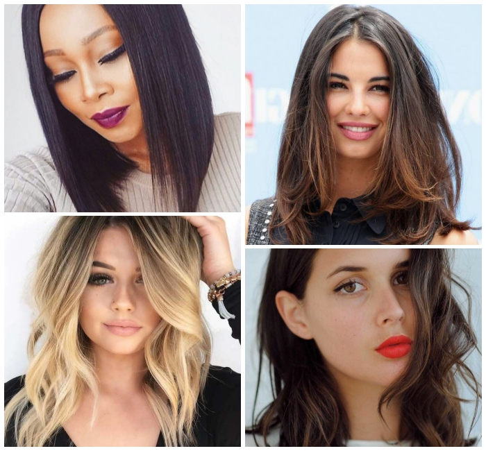 balayage blond, frisuren mittellang stufig, langer bob, schwarze glatt haare, roter lippenstift