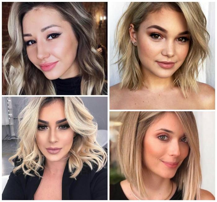 frisuren mittellanges haar, blonde haare, haarstyles mit locken, dunkler ansatz